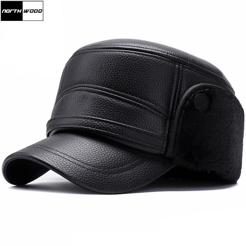 [NORTHWOOD] Winter Leather Baseball Caps For Men Plus Velvet Warm Flat Hats With Earmuffs Earflaps Military Cap Mens Trucker