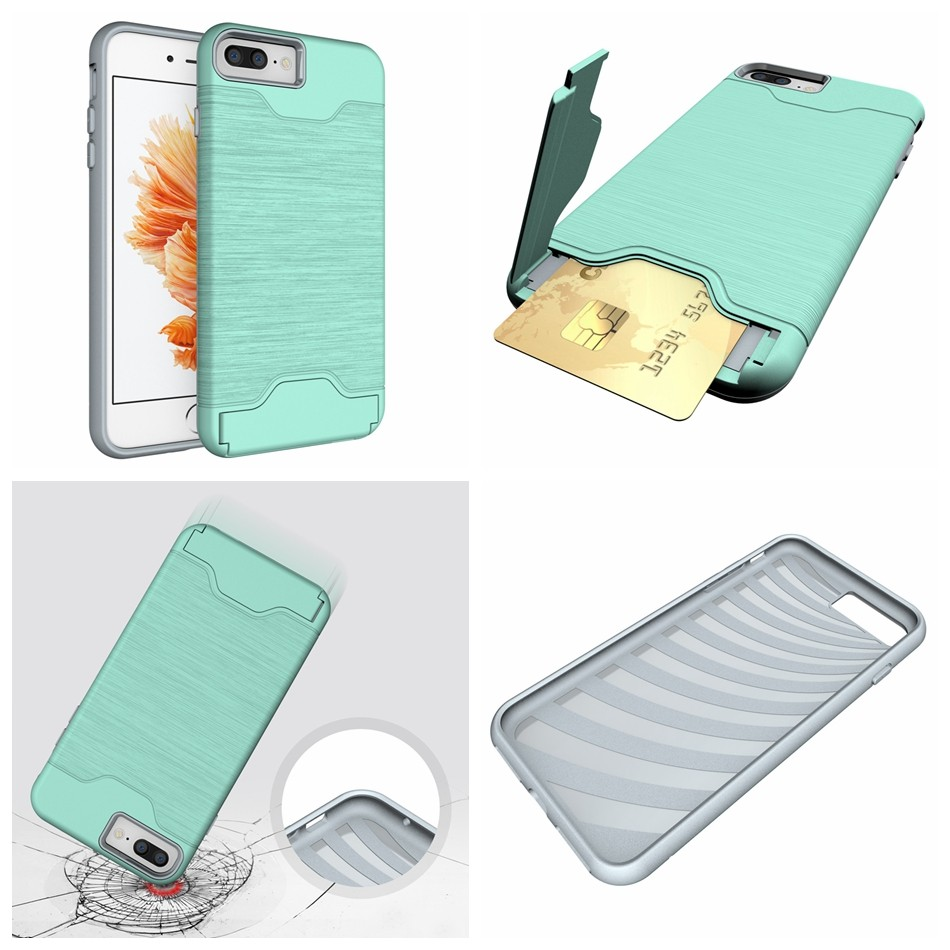 for iPhone 7 funda Luxury Slim Hybrid Credit Card pocket wallet pouch Phone case PC Back Cover for Apple iPhone 6S 6s Plus Coque (4)