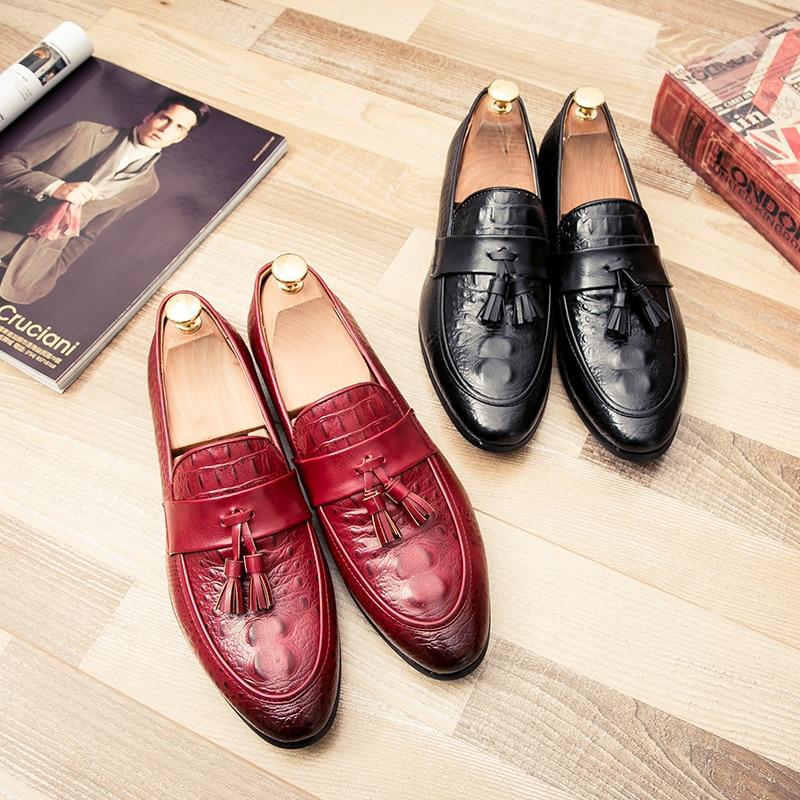 mens tassel shoes leather italian formal snake fish skin dress office footwear luxury brand fashion elegant oxford shoes for men (38)