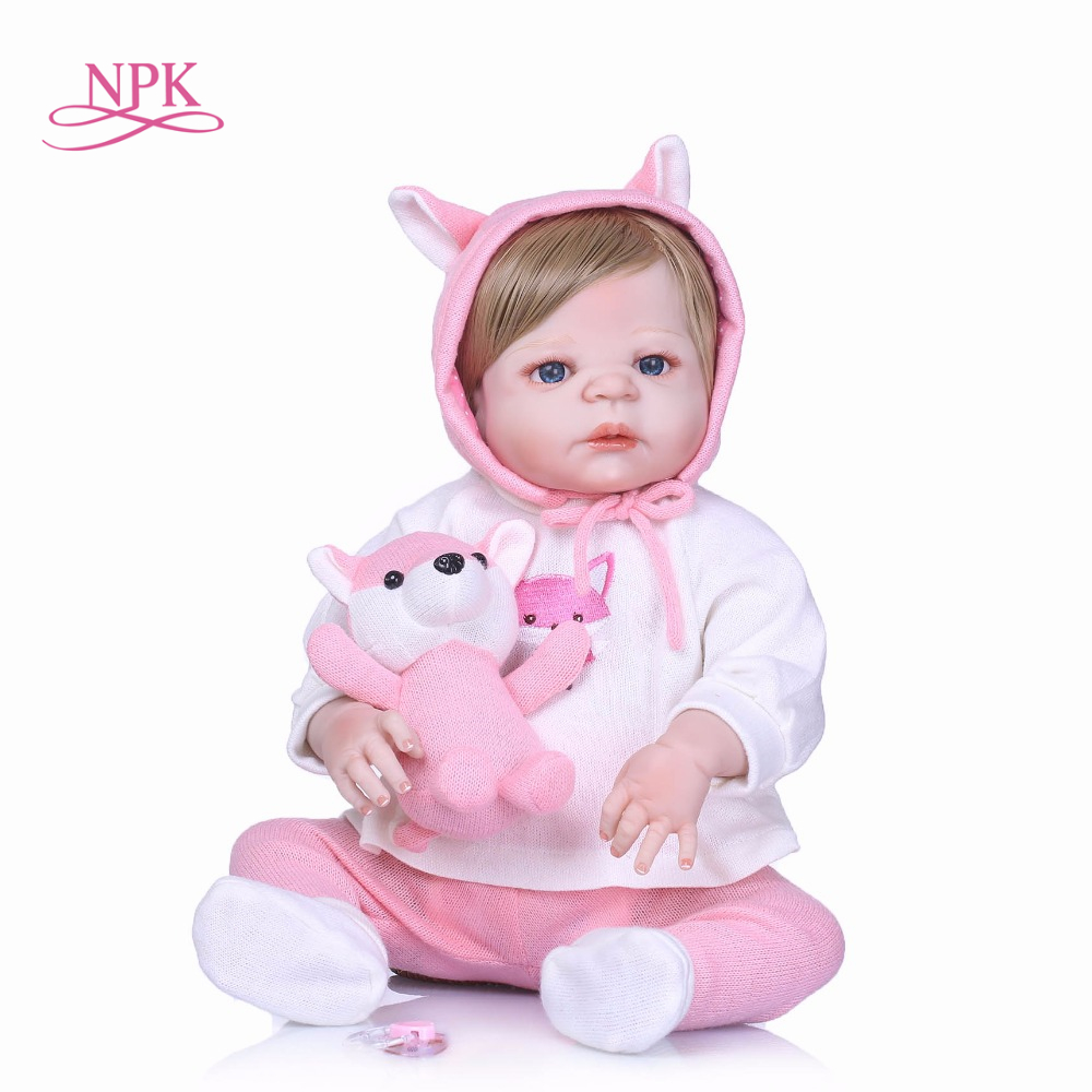 NPK Nicery 22inch 55cm Bebe Reborn Doll Hard Silicone Boy Girl Toy Reborn Baby Doll Gift for Children Pink cloth Girl Baby Doll nicery 22inch 55cm bebe reborn doll hard silicone boy girl toy reborn baby doll gift for children blue dino cloth hat baby doll