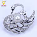 New design wholesale pearl swan brooch pins two color optional