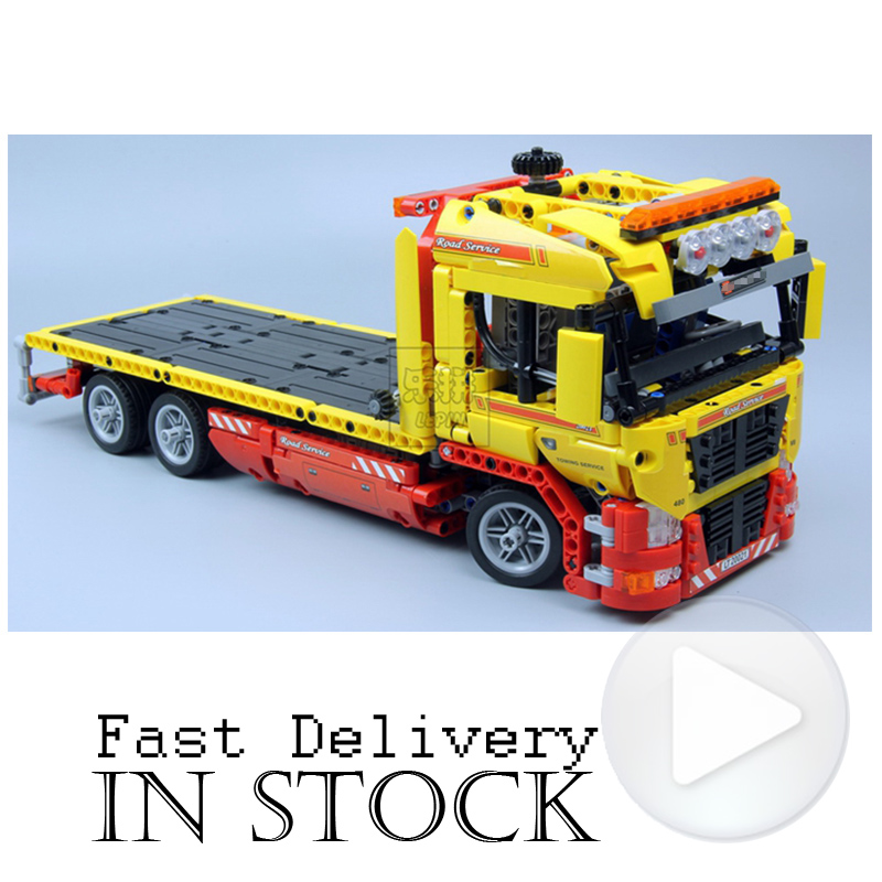 Lepin 20021 1143pcs Technic series The Flatbed Truck trailer Model Building Blocks Bricks 8109 classic car Toys for children wange mechanical application of the crown gear model building blocks for children the pulley scientific learning education toys