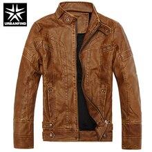 Moto En Cuir Vestes Hommes Automne Hiver Vêtements En Cuir Hommes En Cuir Vestes Mâle D'affaires décontractée Manteaux Taille M-3XL