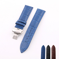 Hand Made High Quality Genuine Leather Watchbands With Butterfly Buckle For 22mm Watch Strap With Stainless
