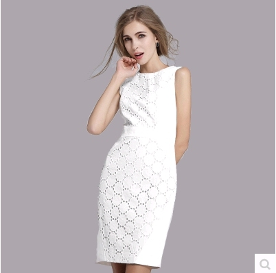 Vestidos Women Dress Summer White 2016 Hot Fashion New Slim European Style Las Sleeveless Round