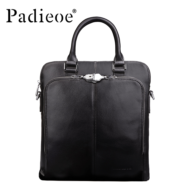 Brand Padieoe Handbag Men Briefcase Fashion Shoulder Bags Business Casual Crossbody Bag Tote Bag Cowhide Men's Messenger Bags padieoe men s genuine leather briefcase famous brand business cowhide leather men messenger bag casual handbags shoulder bags