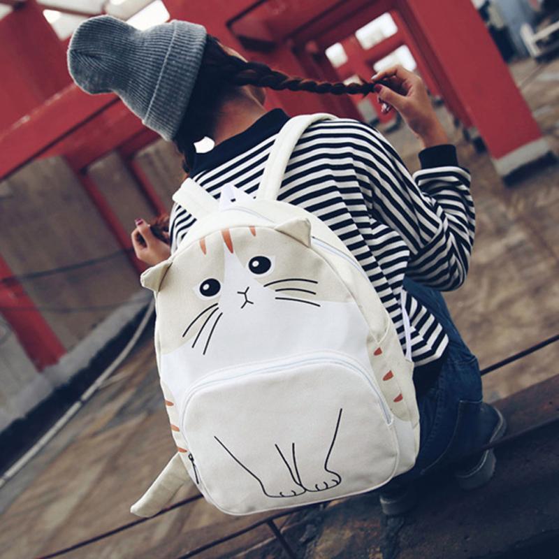College Style Cute Cat Kawaii Neko Casual Canvas Backpack Women Cute Cartoon Backpack School Bags For Teenager Girls Ladies