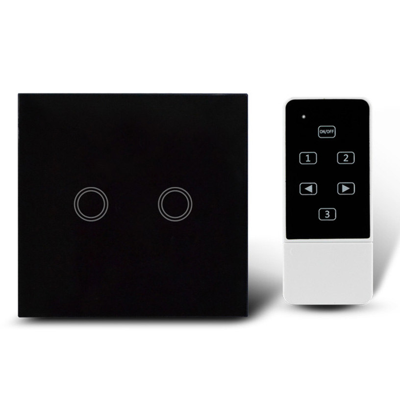 Black Color 2Gang Touch Light Switch with Wireless Remote Control,RF 433Mhz, Glass panel smart wall touch switch-- UK Type smart home us black 1 gang touch switch screen wireless remote control wall light touch switch control with crystal glass panel