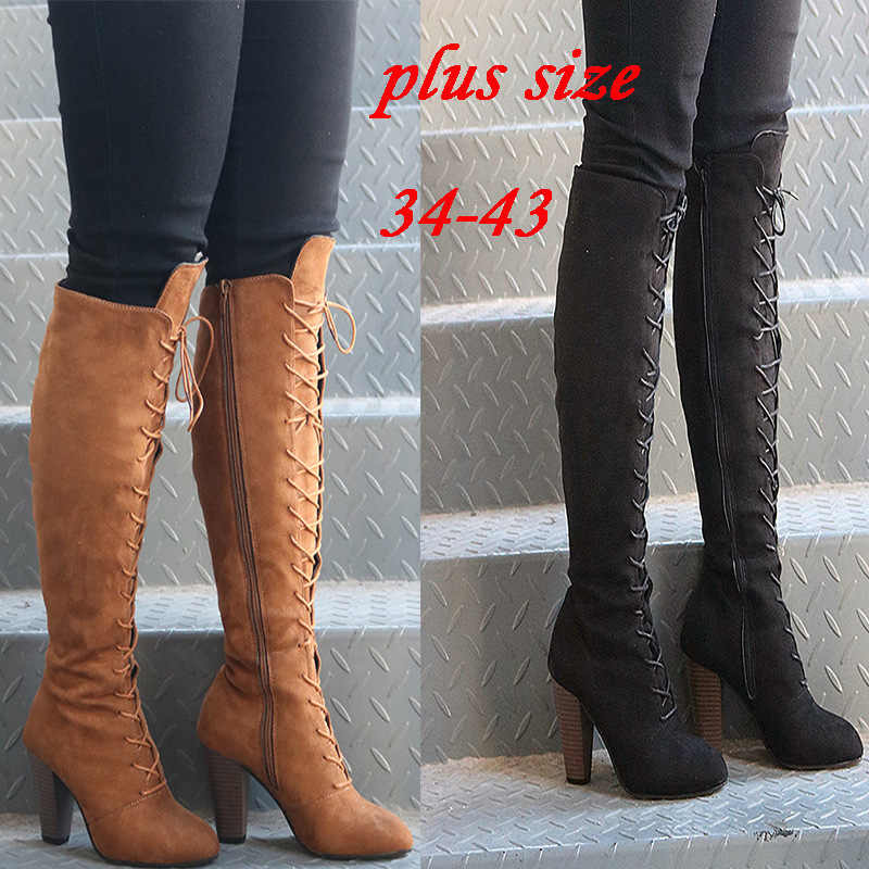 916d8264f631 Sexy Lace Up Over Knee Boots Women Rome Style Boots High Heel Boots Women  Winter Thigh