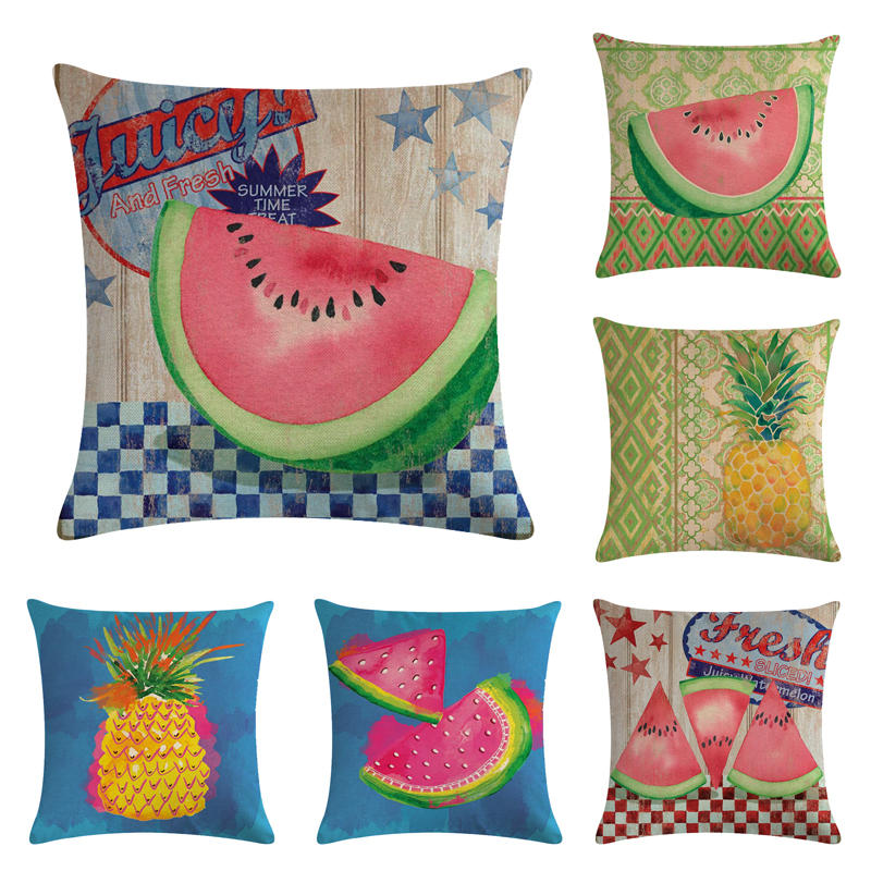 45cm 45cm Watermelon And Pineapple Linen Cotton Cushion Cover And Sofa Pillow Case Home Decorative Pillow Cover Cushion Cover Aliexpress
