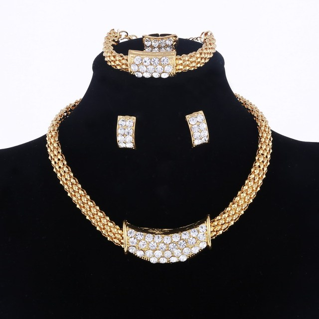 Amazing Price Wedding Gold Jewelry Sets For Women Pendant Statement African Beads Crystal Necklace Earrings Bracelet Rings 3