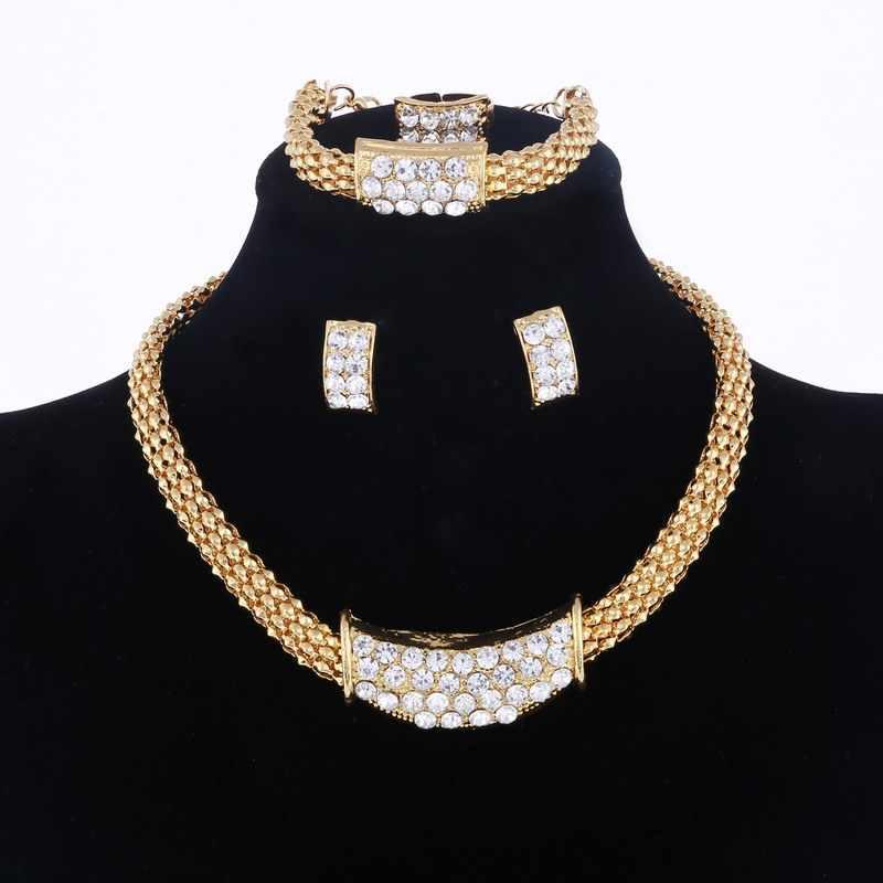 Amazing ราคางานแต่งงาน Gold ชุดเครื่องประดับสำหรับผู้หญิงจี้แอฟริกันลูกปัดคริสตัลสร้อยคอต่างหูสร้อยข้อมือแหวน