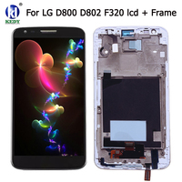 LCD Display Touch Screen Digitizer With Bezel Frame Assemble Repair Parts For LG G2 D800 D801