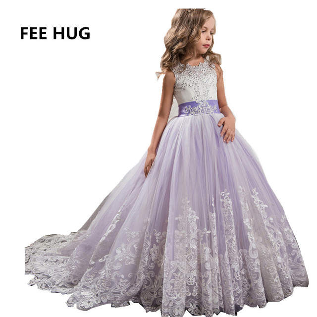 Anak Perempuan Gaun Putri Gadis Elegan Renda Gaun Pengantin Anak