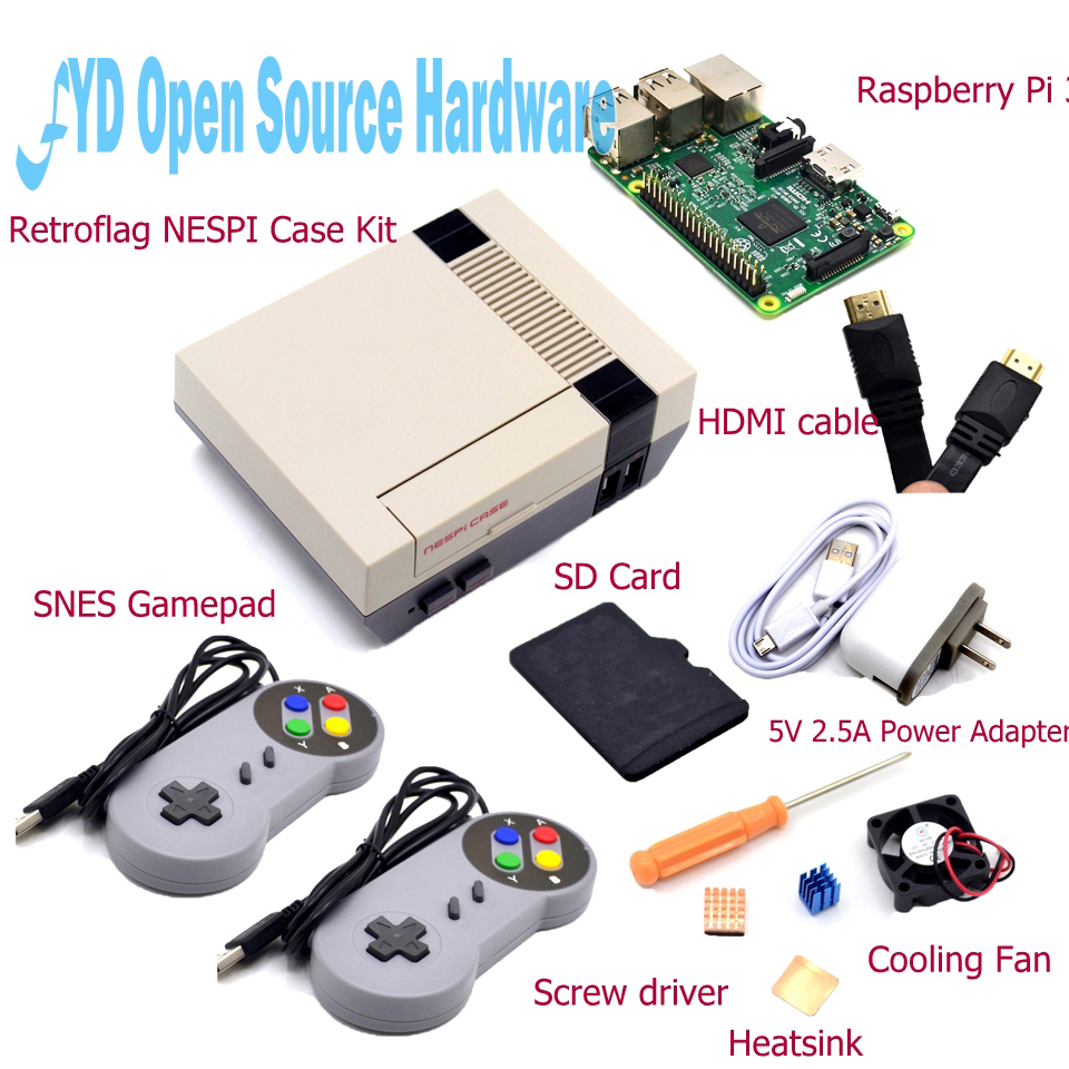NESPI Case with Raspberry Pi 3 16G Card Fan 2pcs SNES Gamepad Power Adapter Heatsink Cable