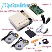 Carcasa NESPI con tarjeta Raspberry Pi 3 + 16G + ventilador + 2 uds Gamepad SNES + adaptador de corriente + disipador térmico + Cable para RetroPie