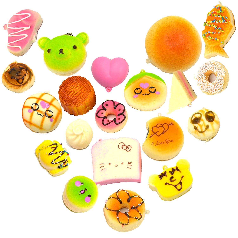 Squishy Cake Food 52 : Besegad 10Pcs Cute Squishy Toy Food Cake Slow Rising Mobile Phone Strap Bag Hanging Pendant ...