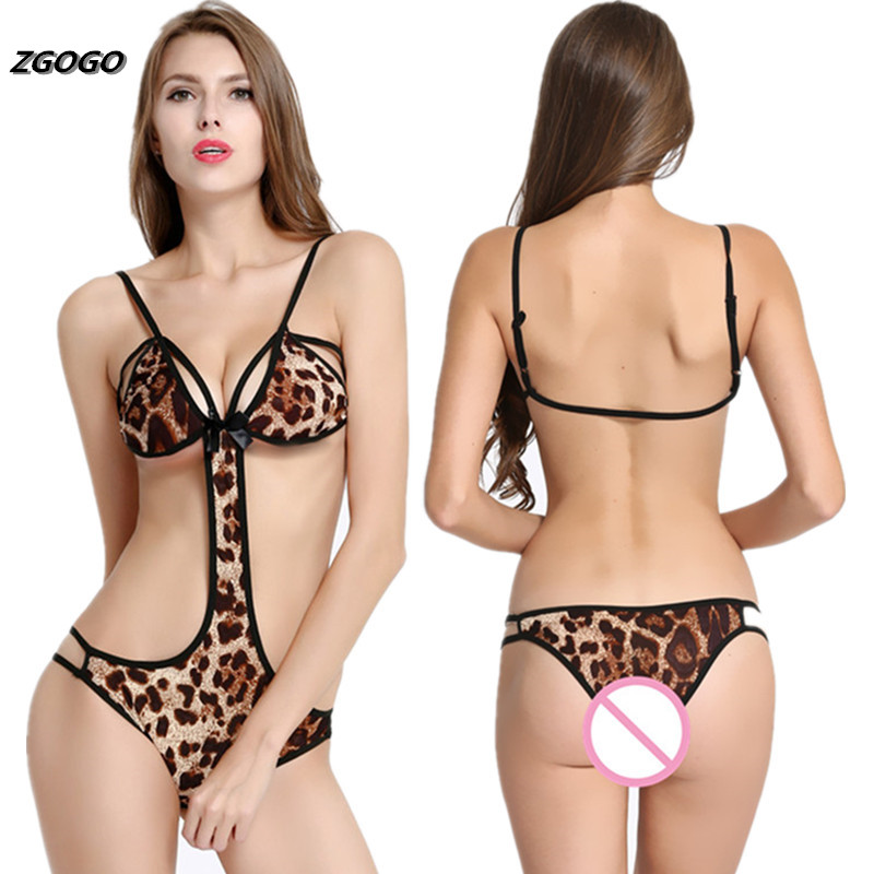 Buy ZGOGO Women's Sexy Lingerie Underwear Teddy Nightwear Lace Open Breasts Bra Crotchless Leopard intimates sex products hot