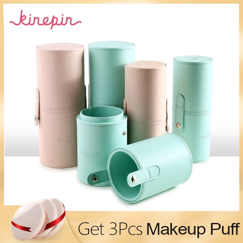 KINEPIN Make-Up Pinsel Halter Leere Tragbare Make-Up Pinsel Fall Runde Pen Veranstalter Kosmetische Werkzeug PU Leder Tasse Container