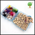 DIY box set  teether baby nursing accessory wooden beech rattles crochet beads baby Nursing necklace, teething making WC064