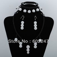 Freeshipping New Arrival Shamballa Set Disco CZ Crystal Shamballa Beads Necklace Bracelet Earrings Shamballa Set