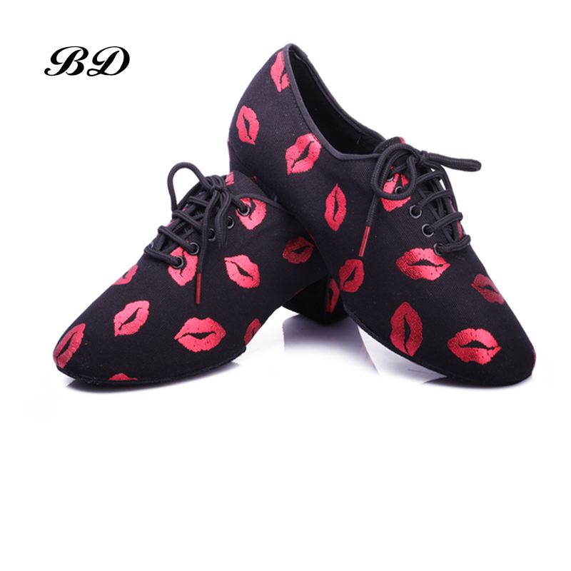 2019 NEW Red Lips Latin Dance Shoes Sneakers WOMEN SHOES Jazz Modern Shoe GIRL Non-slip Soft Sole  Heel 5 CmP BD T1-B Ballroom