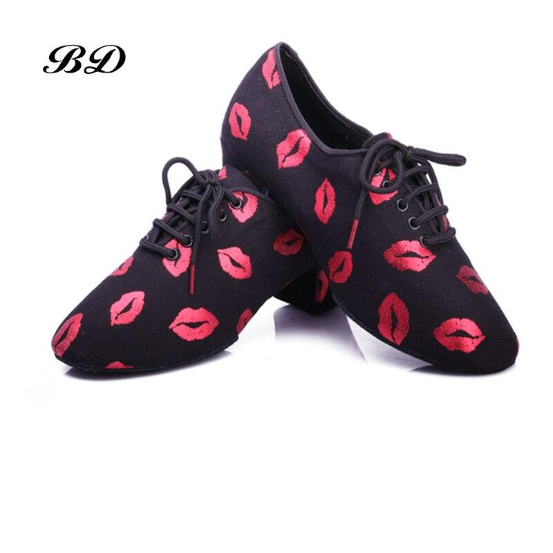 2019 nouvelles lèvres rouges chaussures de danse latine baskets femmes chaussures Jazz moderne chaussure fille antidérapant semelle souple talon 5 cmP BD T1-B salle de bal