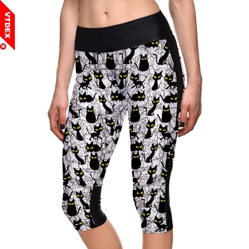 Skinny Yoga Pants Capris Black Cats Pattern Women Elastic Running Tights GYM Fitness Push Up Leggings Sport Comperssion Trousers