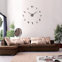 Fashionable DIY 3D Wall Clock Acrylic Mirror Stickers Home Decor Quartz Needle