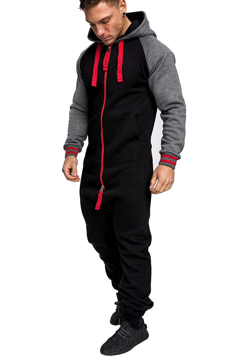 Casual Autumn Hooded Tracksuit Jumpsuit Long Pants Romper For Male Mens Fleece warm Overalls Sweatshirts Male Streetwear X9126 23