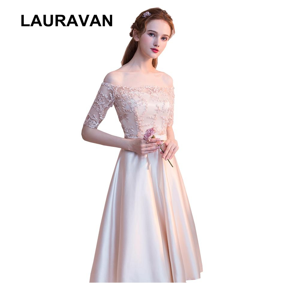 Us 24 22 5 Off Special Occasion Champagne Colored Boat Neck Satin Short Bridesmaid Gown Dresses Formal Tea Length Dress With Sleeve In