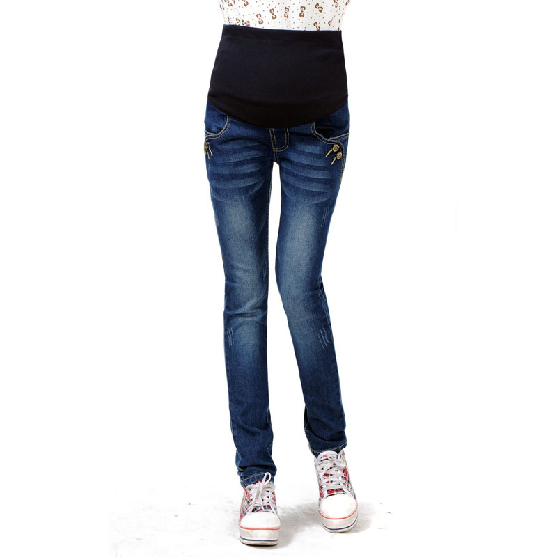 Cotton Maternity Jeans For Pregnant Women Clothes Denim Pants Pregnancy Trousers Abdominal Elastic Waist Maternity Clothing artka women jeans with embroidery vintage trousers women 2018 skinny jeans denim pencil pants plus size elastic jeans kn12621d