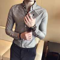Summer New Men's Shirt Long sleeved Slim Fit Fashion Simple Printing Social Business Casual Temperament Trend Dress Shirt Man