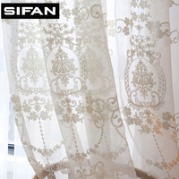 European White Embroidered Voile Curtains for the Bedroom Sheer Curtains for Living Room Tulle Window Curtains