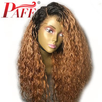 PAFF 180% Density Ombre Color Human Hair Wigs Glueless Lace Front Remy Hair Wigs with Dark Roots Ombre 1b/27# Lace Frontal Wigs