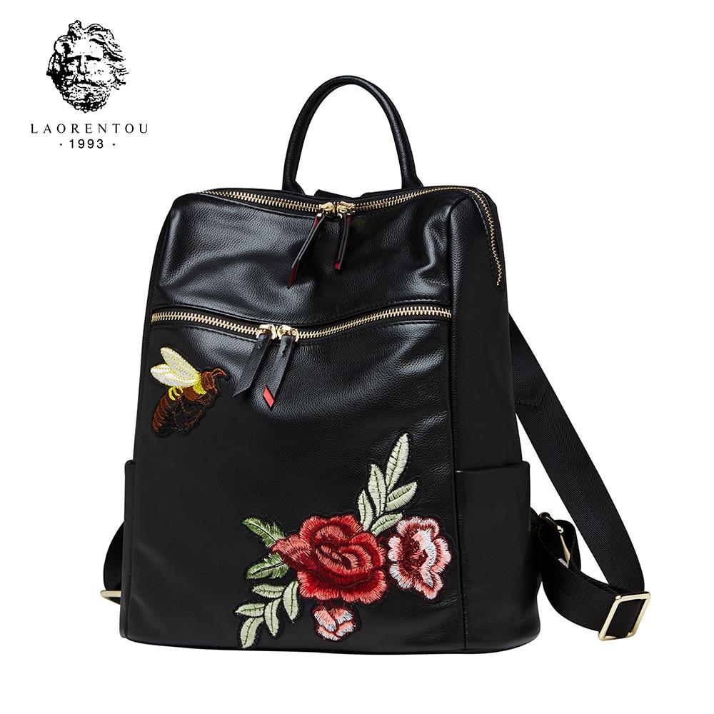 Laorentou Women Genuine Leather Backpack Girls School Bag Female Fashion School Bag Ladies Backpacks For Teenager Girls
