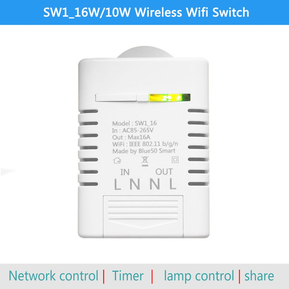 SW1_16W/10W Wireless Wifi Switch Ewelink Smart Home Automation Module for  iPhone Android 10A 16A