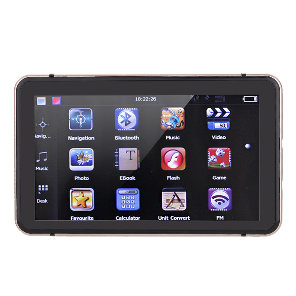 7 HD Touch Screen Portable Car GPS Navigation 128MB RAM 4GB FM Video Play Champagne Gold Car Navigator with BT +Free Map