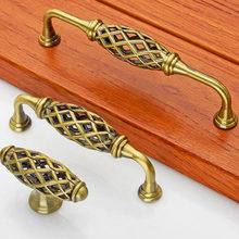 Single Hole Handle European Bird Cage Handle Antique Zinc Alloy Furniture Drawer Cabinets Wardrobe Handle Cabinet Pulls(China)