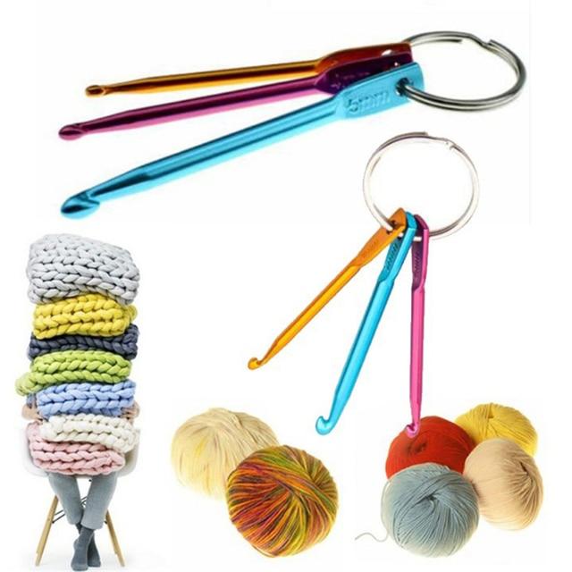 345mm Mini Crochet Hook Aluminum Keychain Hooks Multicolour Crafts