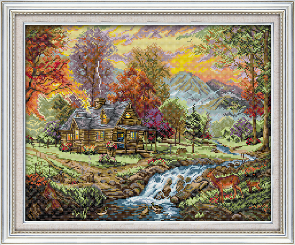 Holiday Villa Cross Stitch Kit Animal18ct 14ct 11ct Count Print Stitching Embroidery DIY Handmade Needlework Plus