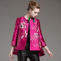 Mulheres encabeça outono bordado real do vintage casaco curto floral high-end 3/4 lady luva casual casaco jaqueta de beisebol feminino S-XXL
