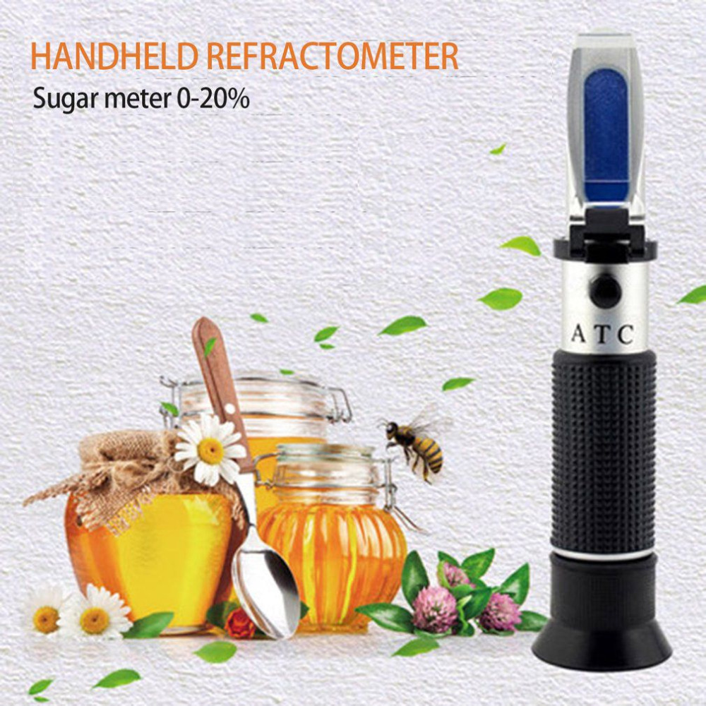 Handheld Refractometer Honey Beer Fruit Sugar Solution Brix Refractometer fluid Sweetness Saccharimeter Concentration Meter Test 2018 new hand held brix refractometer for sugar beer brix test optical 0 32% brix atc fruit sugar meter saccharimeter