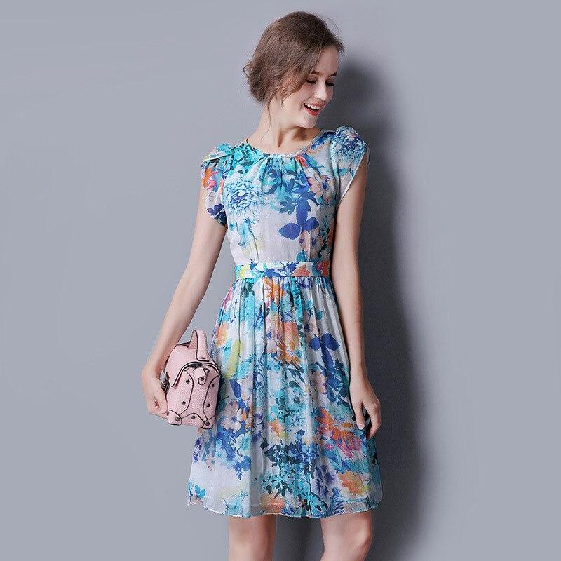 100% шелковое шифоновое платье голубого цвета с цветочным принтом, богемное шелковое платье, рождественское платье для женщин, Новогодняя же... - 2