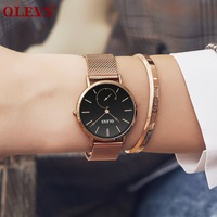 OLEVS Ultra thin Belt Mesh Watch Women's Watches Minimalist Style Quartz Gold Watch Second disk relogio feminino bayan kol saati