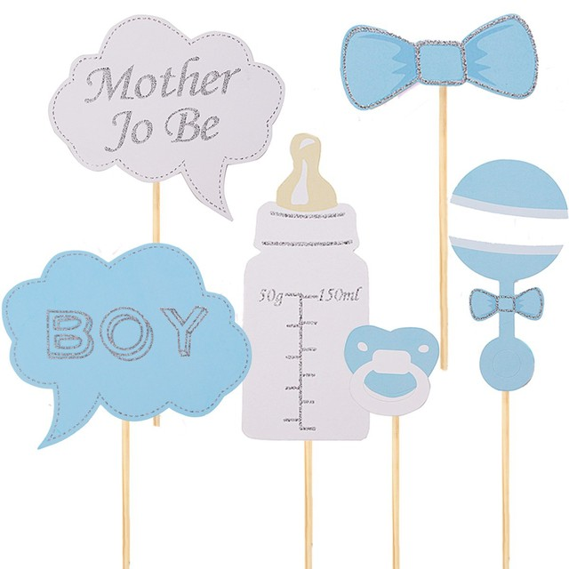 6 Pcs Baby Shower Decorations Photobooth Props Free Shipping Photo