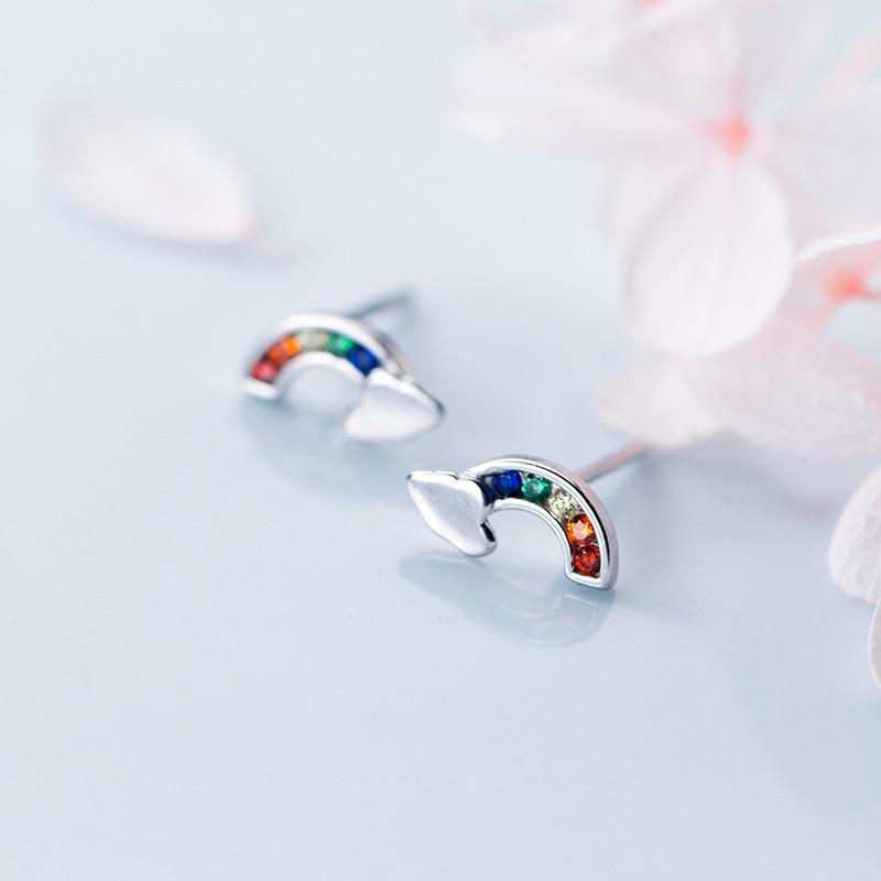 XIHA 925 Sterling Silver Earrings Minimalist Rainbow CZ Zircon Crystal Small Stud Earrings Silver Korean Earings Women Jewelry in Stud Earrings from Jewelry Accessories