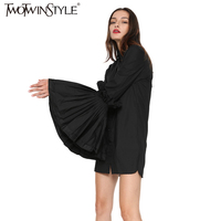 TWOTWINSTYLE 2017 Spring New Women Long Sleeve With Pleated Ruffles Flare Cuff Fold Over Collar