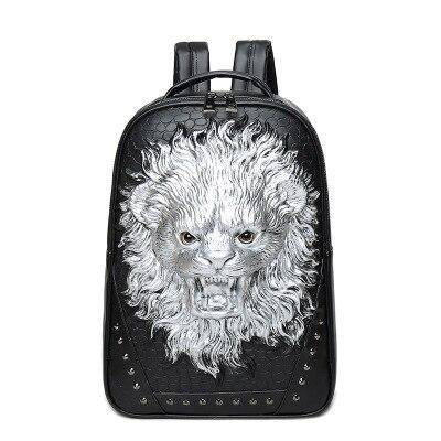 2018 femmes sac à dos pour ordinateur portable Animal Lion impression cartables pour adolescent filles étudiant sacs Rivet noir 3D sacs à dos Mochila hommes