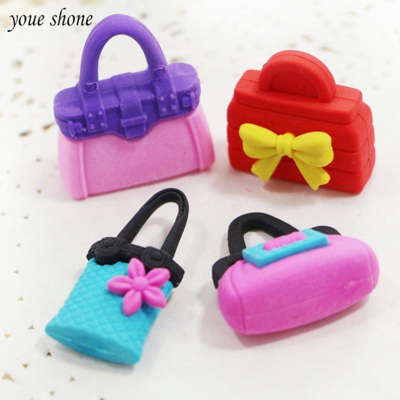 4Pcs/ lots Kawaii 4 kinds of eraser lovely bag shape rubber girl student learning stationery childrens school creative gift